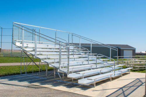 Aluminum Portable 10 Row Bleacher • Seats 144 - Handrail