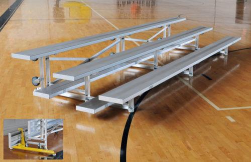 Aluminum 3 Row Tip N Roll Bleacher • Seats 15