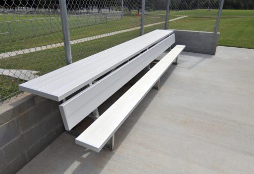 Aluminum Players Bench | Shelf 27' • Seats 18