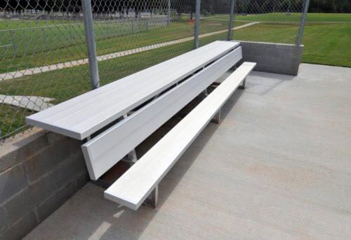 Aluminum Players Bench | Shelf 21' • Seats 14