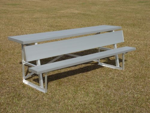 "Aluminum Players Bench | Shelf 7' 6"" • Seats 5 - Outdoor Bench"