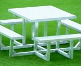 "Aluminum Square Table 5' 9-1/2"" • Seats 8 - Table"