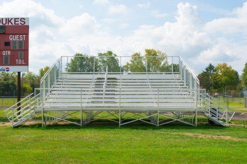 Aluminum 10 Row Elevated School Bleacher • Seats 144